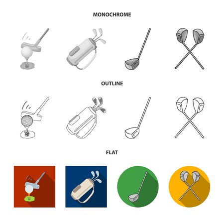Isolated object of  and stick sign. Set of  and golf  vector icon for stock.