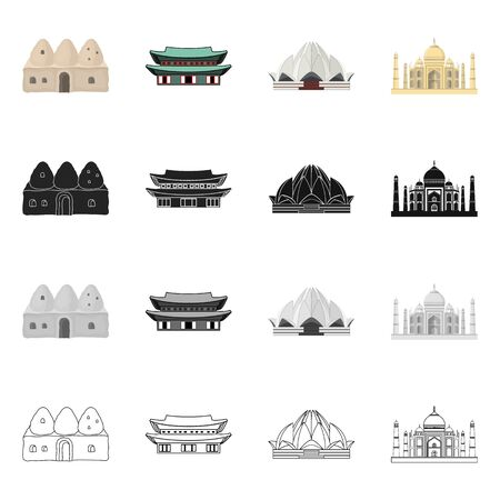 Isolated object of town  and chinatown icon. Collection of town  and asian  vector icon for stock.