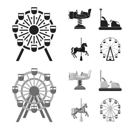 Vektordesign des Spaß- und Pferdelogos. Sammlung von Spaß- und Zirkusvorrat-Vektorillustration.