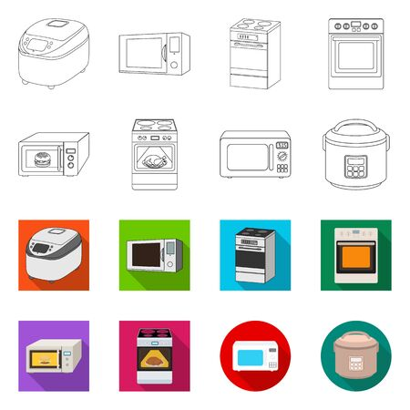 Vector illustration of food and inside logo. Collection of food and cooker vector icon for stock. Imagens - 124652247