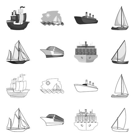 Vector illustration of yacht and ship logo. Set of yacht and cruise stock symbol for web. Illustration