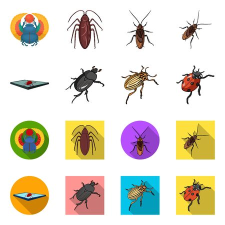 Vector design of insect and beetle symbol. Set of insect and halloween vector icon for stock. Çizim