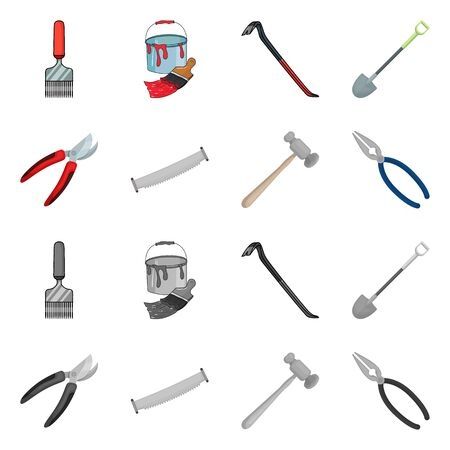 Isolated object of tool and construction sign. Collection of tool and carpentry vector icon for stock. Illustration