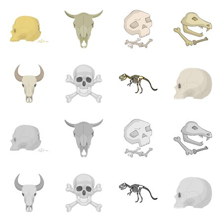 Vector illustration of skeleton and character sign. Collection of skeleton and halloween stock vector illustration.