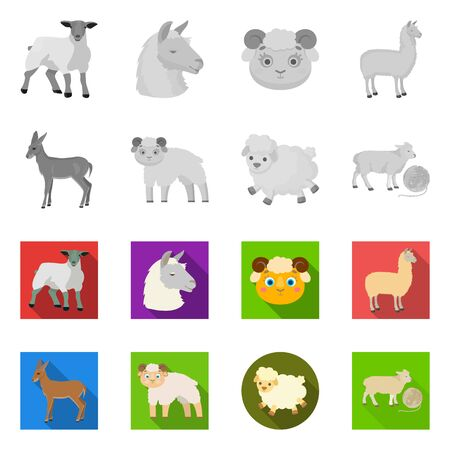 Vector illustration of sheep and goat symbol. Collection of sheep and happy  stock symbol for web. Çizim
