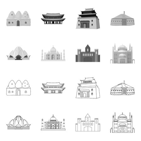 Vector design of town  and chinatown logo. Collection of town  and asian  vector icon for stock.