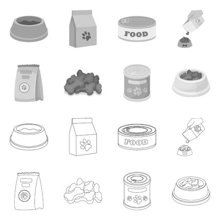 Vector illustration of food  and tin icon. Set of food  and bottle vector icon for stock.