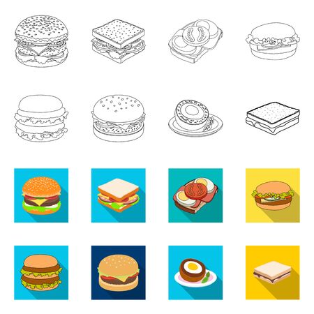 Vector design of sandwich and wrap sign. Set of sandwich and lunch stock symbol for web.