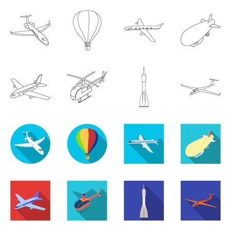 Isolated object of transport and object symbol. Set of transport and gliding  vector icon for stock.