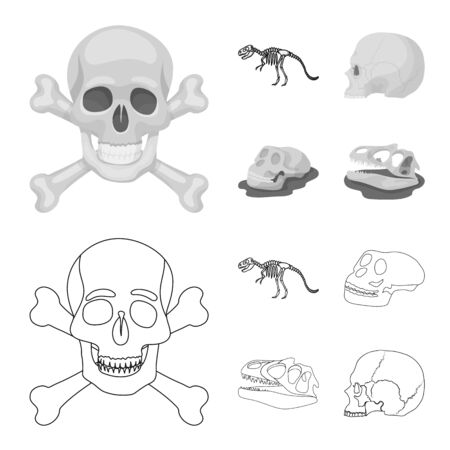 Vector design of skeleton and character icon. Set of skeleton and halloween vector icon for stock.