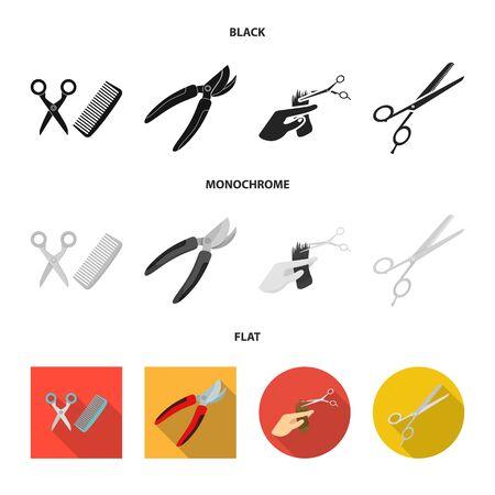 Vector design of scissor and craft  icon. Set of scissor and open stock vector illustration.