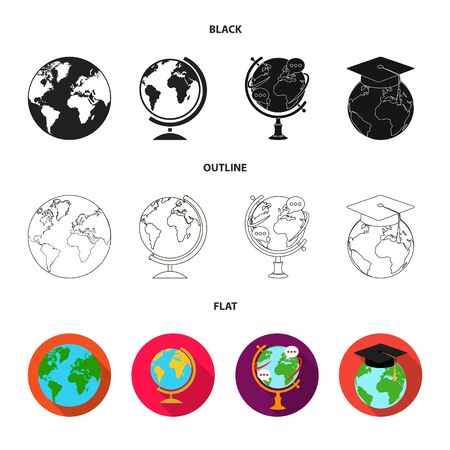 Vector illustration of globe and world icon. Set of globe and earth vector icon for stock. Ilustracja