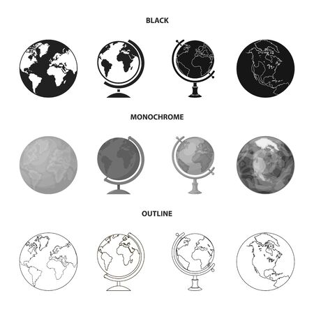 Vector illustration of globe and world icon. Collection of globe and earth stock vector illustration. Ilustracja