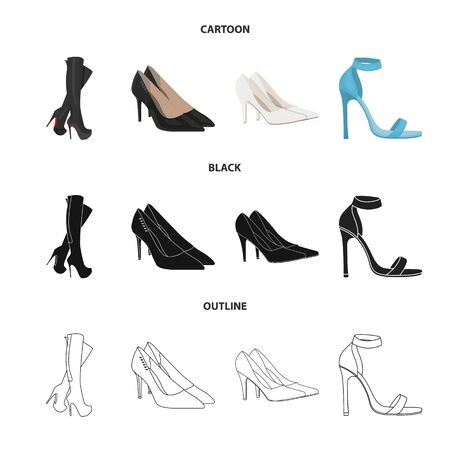 Isolated object of heel and high icon. Set of heel and stiletto stock vector illustration.