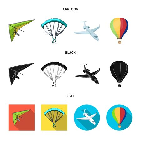 Vector design of transport and object icon. Set of transport and gliding  stock vector illustration. Иллюстрация