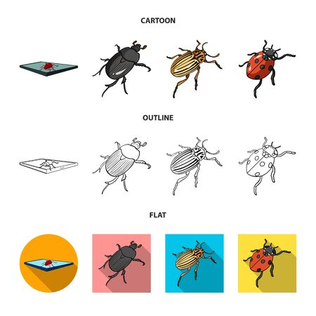 Vector illustration of insect and beetle symbol. Collection of insect and halloween stock vector illustration. Çizim