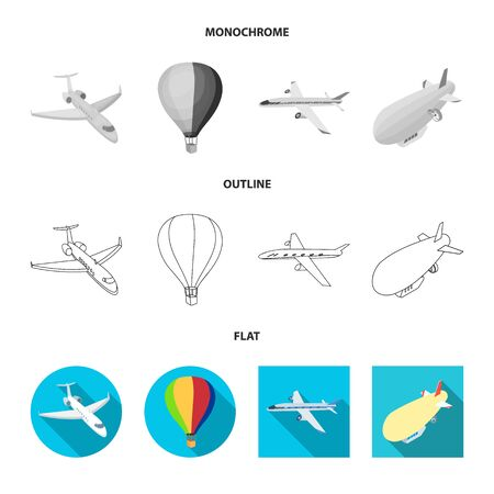 Vector illustration of transport and object logo. Set of transport and gliding  stock symbol for web.