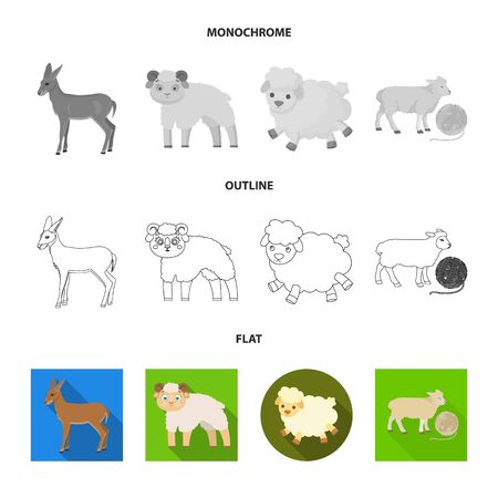 Vector design of sheep and goat icon. Set of sheep and happy  stock symbol for web. Çizim