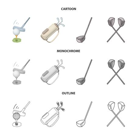 Vector illustration of  and stick sign. Collection of  and golf  stock symbol for web.