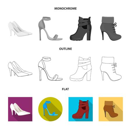 Isolated object of heel and high sign. Set of heel and stiletto vector icon for stock. Иллюстрация