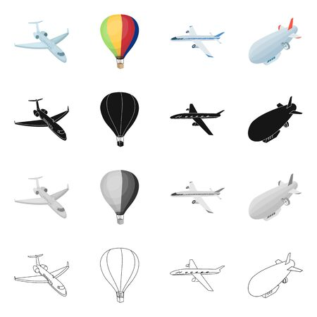 Vector design of transport and object symbol. Collection of transport and gliding  stock vector illustration.