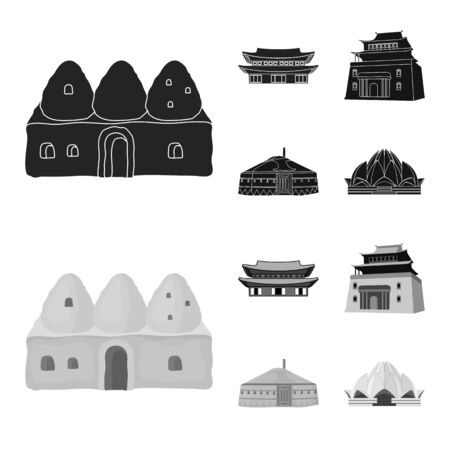 Isolated object of town  and chinatown symbol. Set of town  and asian  stock vector illustration.