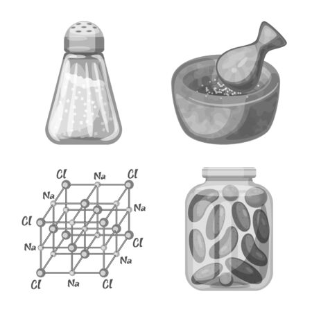 Isolated object of salt  and food icon. Set of salt  and mineral  vector icon for stock.