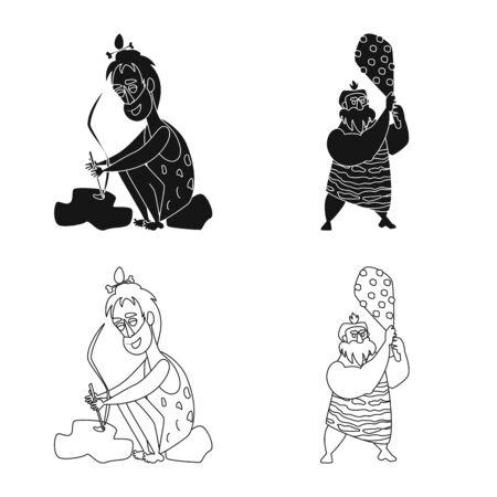 Vector illustration of evolution  and prehistory sign. Set of evolution  and development  stock symbol for web.