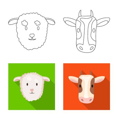 Isolated object of agriculture and breeding icon. Set of agriculture and organic  vector icon for stock. Ilustração