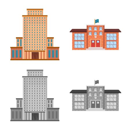 Isolated object of municipal and center symbol. Collection of municipal and estate   stock symbol for web.