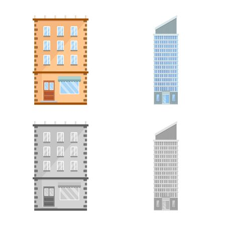 Isolated object of municipal and center logo. Set of municipal and estate   vector icon for stock. Illustration