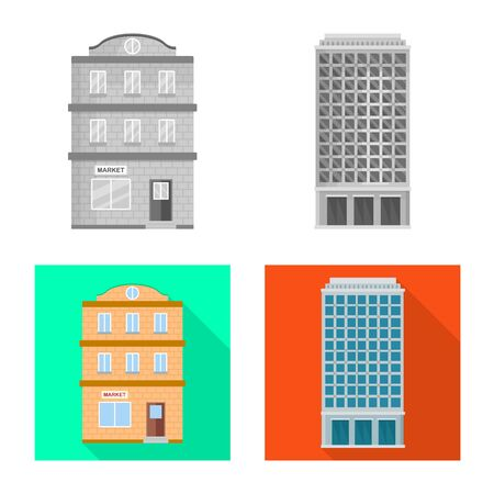 Vector design of municipal and center icon. Set of municipal and estate   stock vector illustration. Stock Vector - 124689542