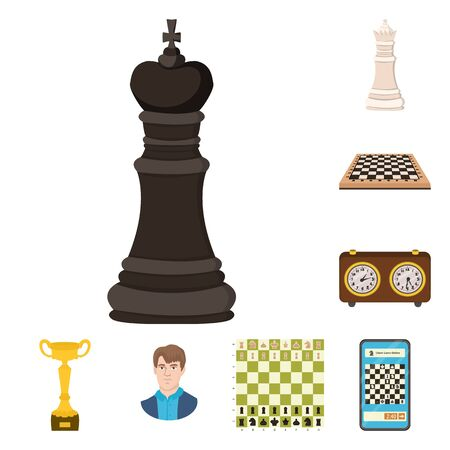 Vector illustration of chess and game logo. Collection of chess and strategy vector icon for stock.