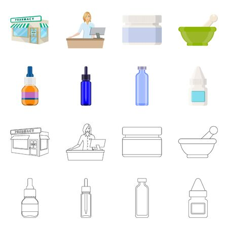 Isolated object of retail and healthcare sign. Collection of retail and wellness stock vector illustration.