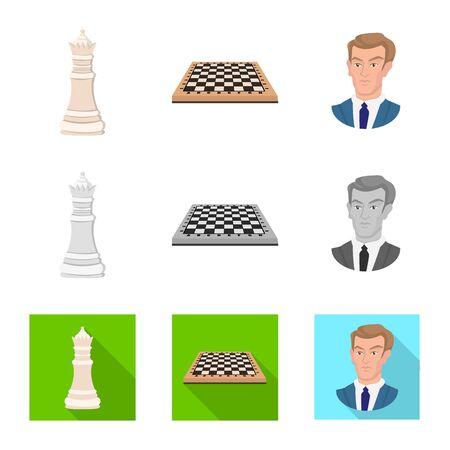 Oggetto isolato di scacco matto e logo sottile. Raccolta di scacco matto e icona di vettore di destinazione per stock.