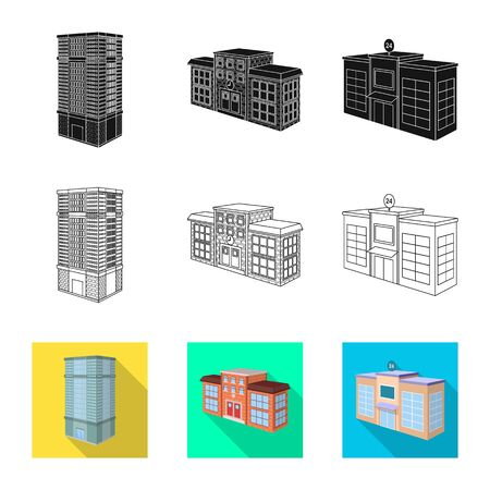 Vector illustration of construction and building icon. Set of construction and estate vector icon for stock. Illustration