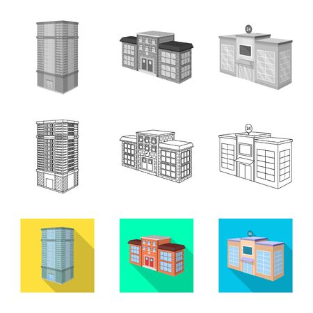 Vector illustration of construction and building icon. Set of construction and estate stock vector illustration. Illustration