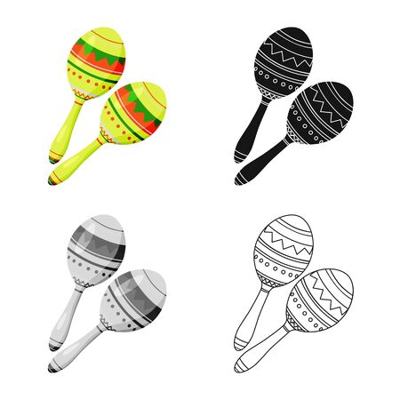 Vector design of maraca and instrument  icon. Collection of maraca and mexican    stock vector illustration.