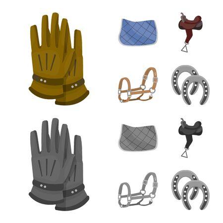 Vector illustration of equipment and riding logo. Collection of equipment and competition stock symbol for web. Ilustração