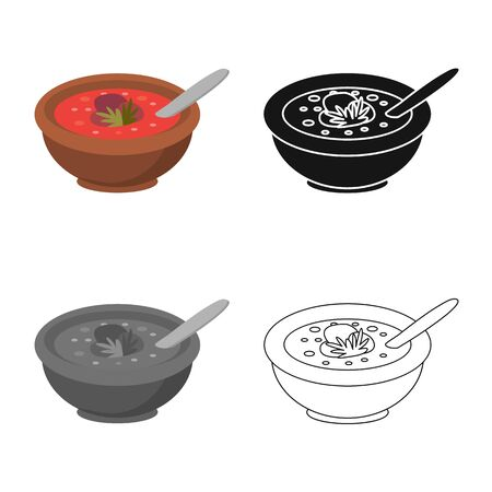 Vector illustration of plate and soup icon. Collection of plate and vegetable  stock symbol for web.