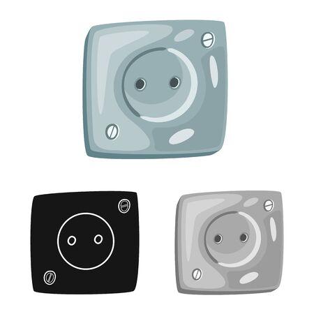 Diseño vectorial de enchufe y logotipo eléctrico. Conjunto de símbolo de stock de plástico y enchufe para web.