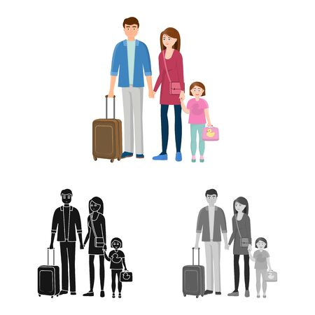 Vector illustration of mom  and dad  logo. Set of mom  and suitcase stock symbol for web.
