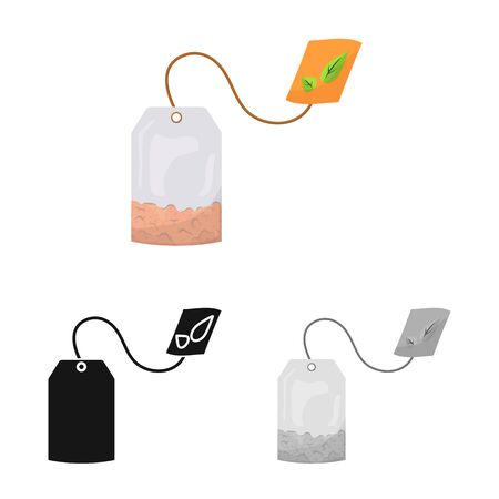 Ilustración de vector de bolsita y signo de té. Conjunto de símbolo de bolsa y bebida para web.