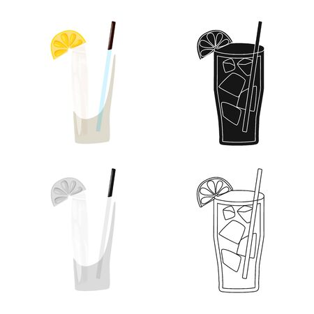 Vector design of cocktail and glass sign. Set of cocktail and piece vector icon for stock. Illustration