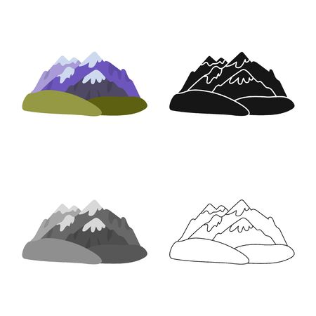 Vector design of mountain  and rocky  sign. Collection of mountain  and peak  vector icon for stock. Çizim