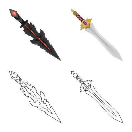 Vector illustration of game  and armor  sign. Collection of game  and blade  vector icon for stock. Ilustrace