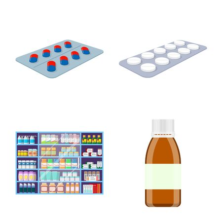 Isolated object of pharmacy and pharmaceutical logo. Set of pharmacy and health vector icon for stock.