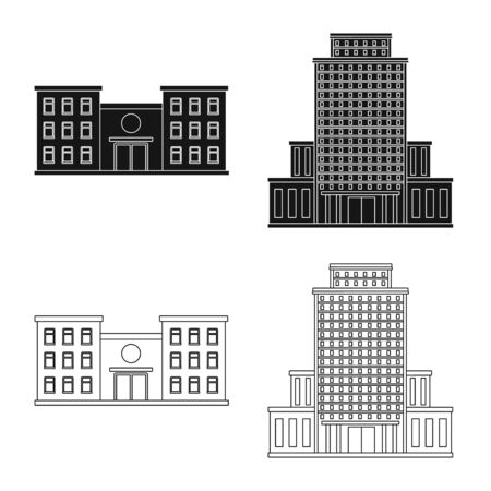 Isolated object of municipal and center icon. Collection of municipal and estate   stock vector illustration.