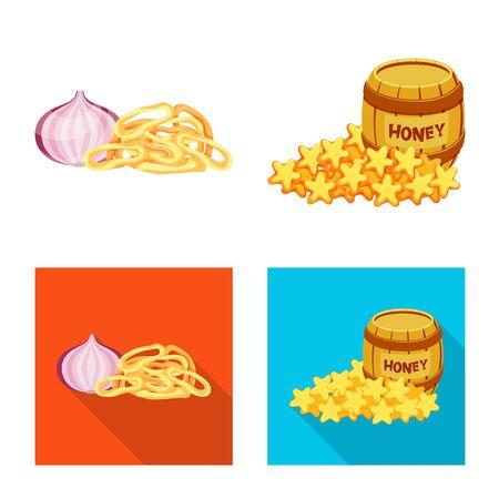 Vector design of taste and seasonin logo. Set of taste and organic   vector icon for stock.