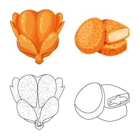 Vector design of product and poultry icon. Set of product and agriculture    stock vector illustration. Ilustrace